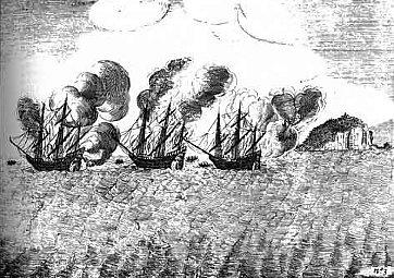 Afbeelding: De Middelburg tijdens De Slag van Kaap Rachado